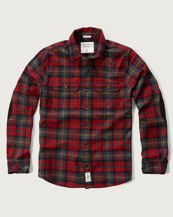 Mens Plaid Elbow Patch Shirt Mens Clearance