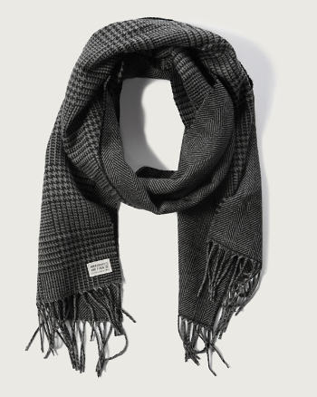 Mens Plaid Fringe Scarf