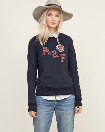 Womens Applique Logo Crew Sweatshirt