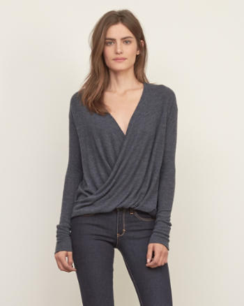 Womens Cozy Wrap Front Tee