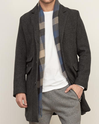 Mens Herringbone Wool Coat