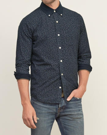 Mens Contrast-collar Patterned Shirt