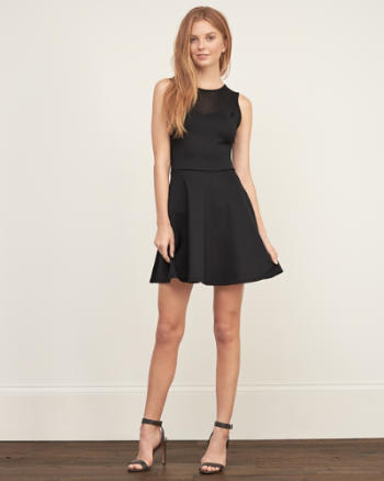Womens Mesh Yoke Neoprene dress