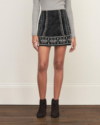 Womens Embroidered Faux Suede Skirt