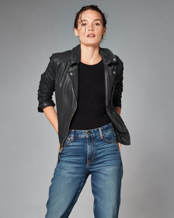 Womens Genuine Leather Biker Jacket