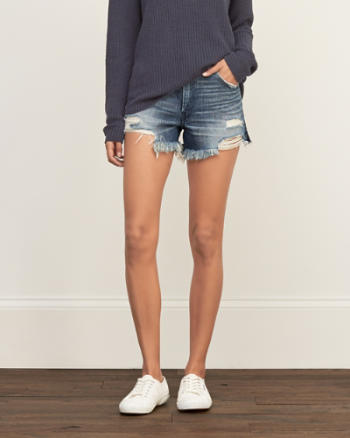 Womens High Rise Rigid Denim Shorts