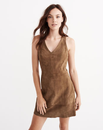 Womens A&F Collection Suede A-line Dress