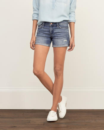Womens Low Rise Stretch Denim Shorts