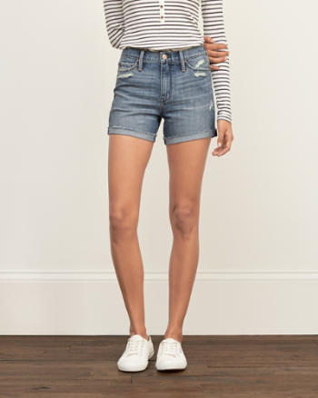 Womens High Rise Stretch Denim Shorts