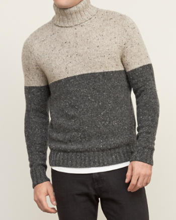 Mens Colorblock Turtleneck Sweater