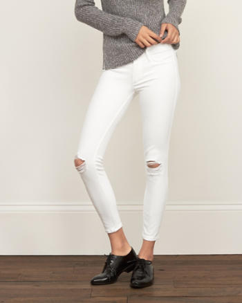 Womens Core Rise Ankle Super Skinny Jeans