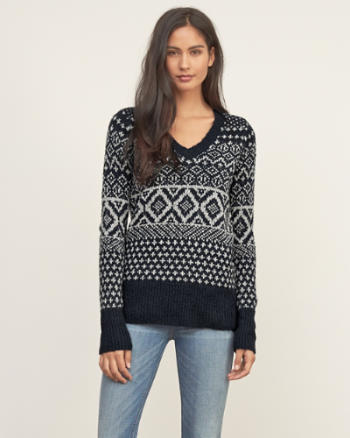Womens Patterned V-neck Sweater