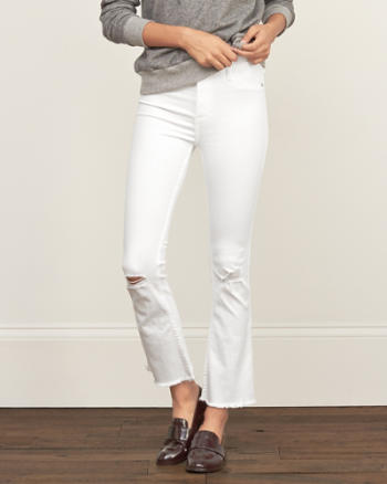 Womens Cropped Flare Jeans