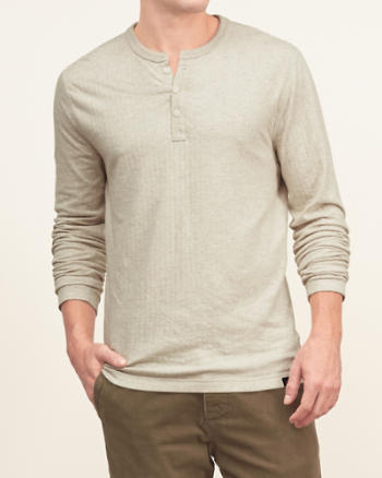 Mens Ribbed Henley