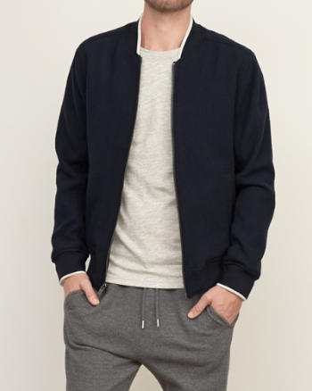 Mens Tipped Wool Baseball Jacket