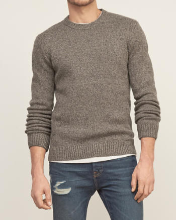Mens Elbow-patch Crew Sweater