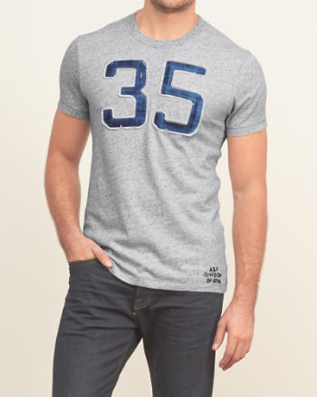 Mens A&F True Indigo Dye Graphic Tee