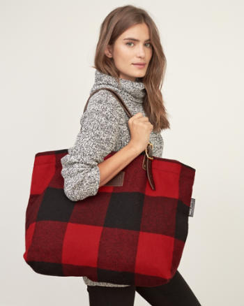 Womens Woolrich with A&F Buffalo Check Shoulder Tote