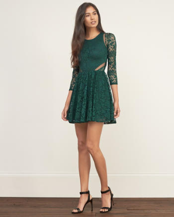 Womens Lace Mesh-trim Dress