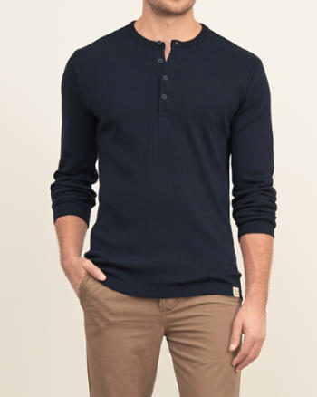 Mens Ribbed Knit Henley
