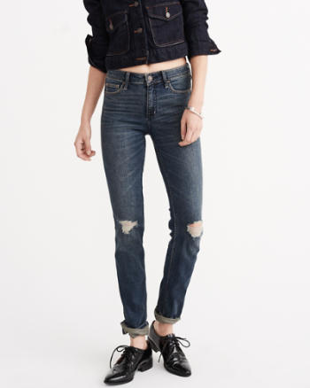 Womens Mid Rise Straight Jeans