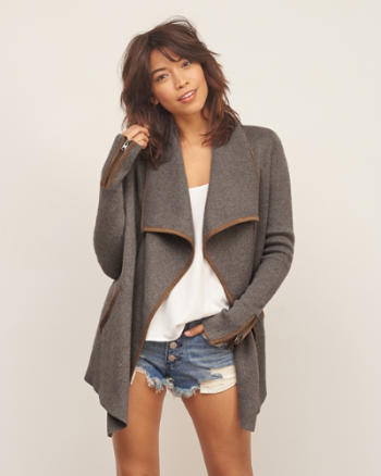 Womens Suede Trim Cardigan Jacket