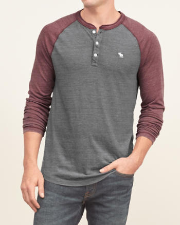 Mens Burnout Baseball Henley
