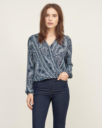 Womens Patterned Wrap Top