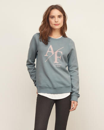 Womens Embroidered Logo Graphic Sweatshirt