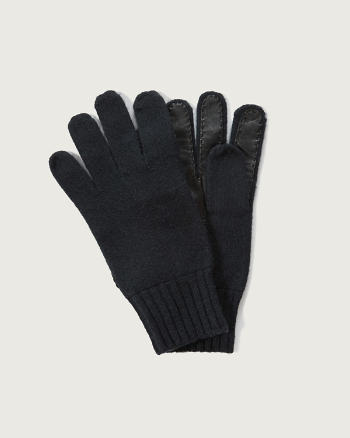 Mens Contrast Leather Gloves