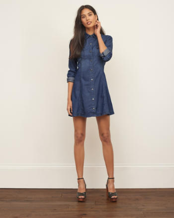 Womens Chambray A-Line Dress