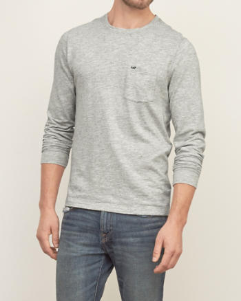 Mens Textured Nep Pocket Crew