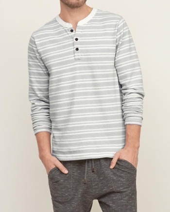 Mens Stripe Knit Henley