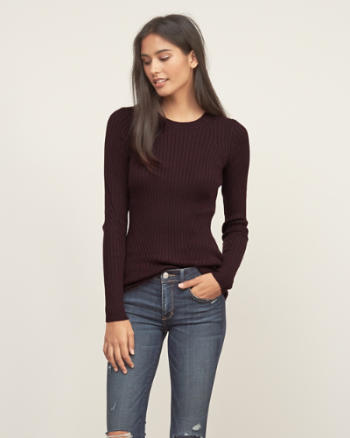 Womens Slim Ribbed Crew Sweater