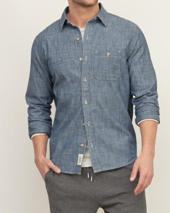 Mens Muscle Fit Chambray Shirt