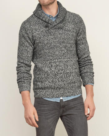 Mens Heathered Shawl Sweater