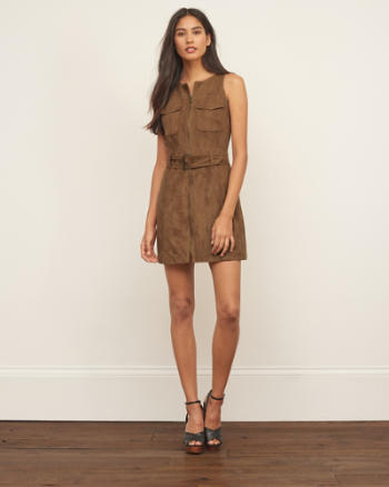 Womens Faux Suede Sleeveless Shirt Dress