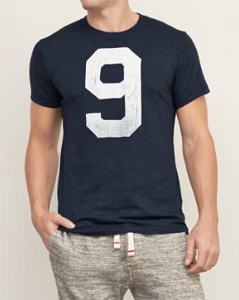 Mens Distressed Number Graphic Tee