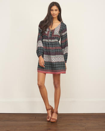 Womens Patterned Crepe Dress