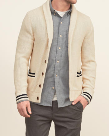 Mens Stripe-Trim Shawl Cardigan