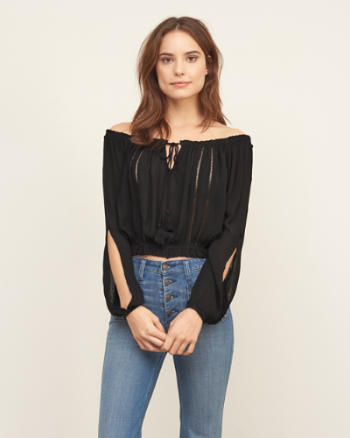Womens Off The Shoulder Smocked Top
