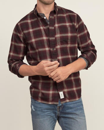Mens Muscle Fit Plaid Pocket Shirt