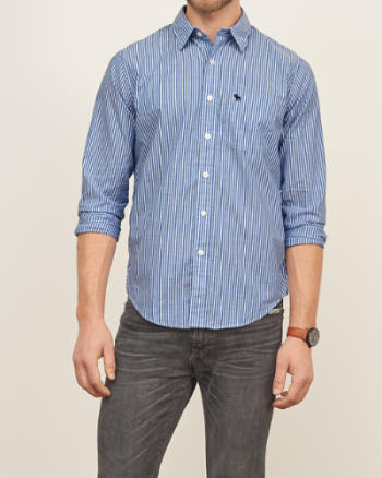 Mens Stripe Poplin Shirt