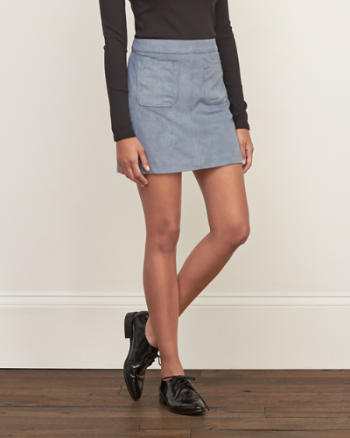 Womens Pocket Suede Skirt