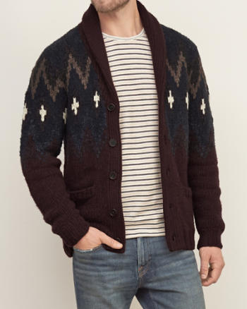 Mens Patterned Hand-Knit Cardigan