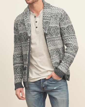 Mens Patterned Shawl Cardigan