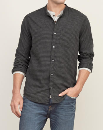 Mens Band-collar Stripe Shirt