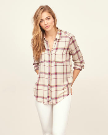 Womens Drapey Plaid Shirt