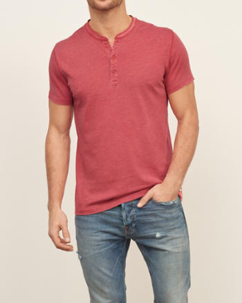 Mens Washed Out Henley