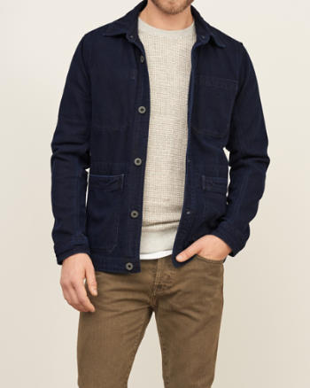 Mens A&F True Indigo Dye Work Jacket